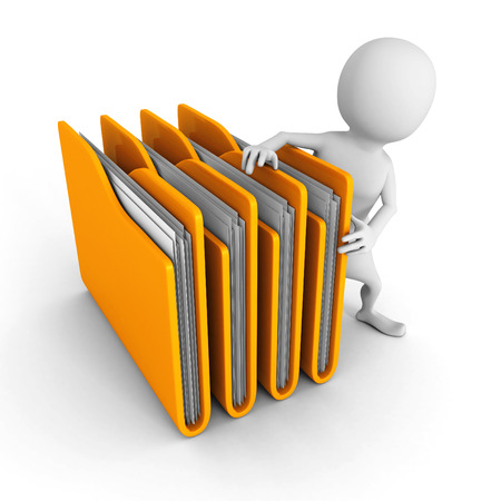 white 3d man with yellow office folders. 3d render illustration