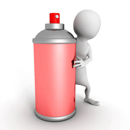 spray paint can: white 3d man with red spray paint can. 3d render illustration