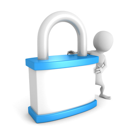 white 3d man with blue padlock. security concept 3d render illustration Stock Photo