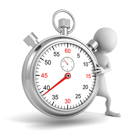 3d white people with classic metal stopwatch. 3d render illustration illustration