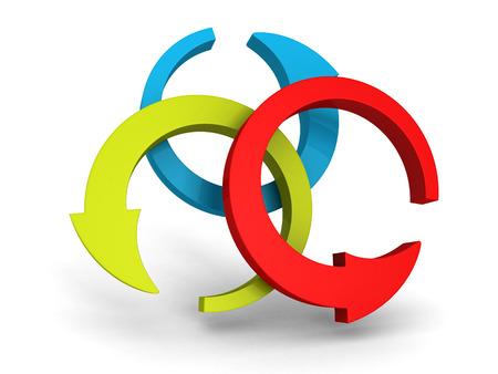 three round red green blue arrows on white background. 3d render illustration illustration