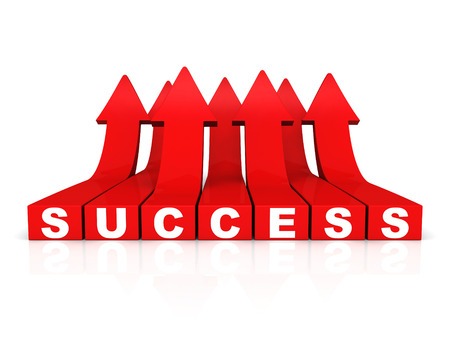 growing success: red growing success word arrows on white background. concept 3d render illustration