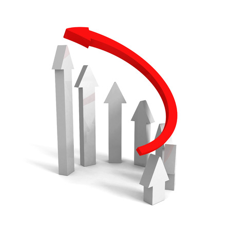 rising up red leader concept arrow. leadership success 3d render illustration