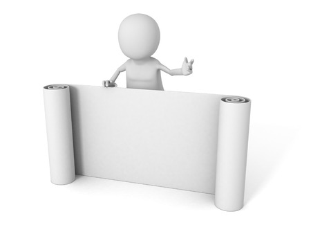 petitions: white 3d man with paper band scroll. 3d render illustration