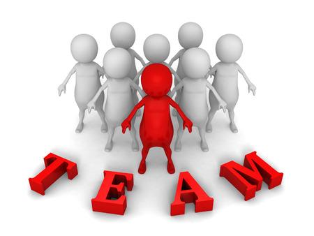 흰색 사람들이 팀의 3d 작은 사람이 리더. 성공 팀워크 개념 그림 3D 렌더링