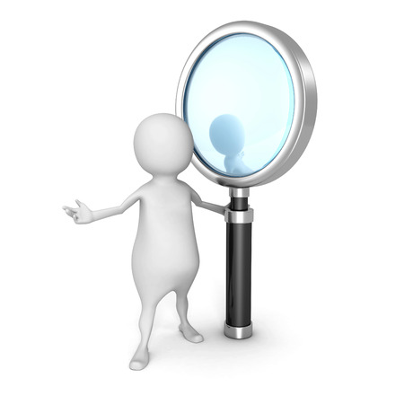 white 3d man with magnifying glass. search concept 3d render illustration illustration