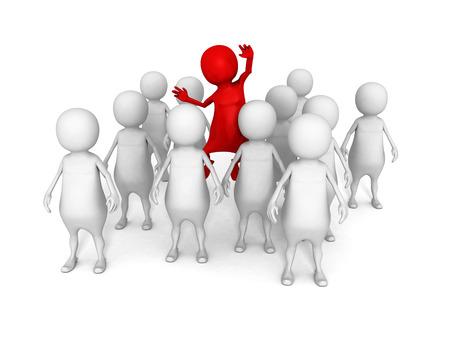 빨간색 다른 3D 남자 흰색 군중 그룹입니다. 개성 개념 3d 렌더링 일러스트 레이션