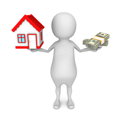 equipoise: white 3d man choice money or house in balance. real estate concept 3d render illustration Stock Photo