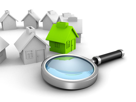 New house search with magnifier glass. real estate concept 3d render illustration