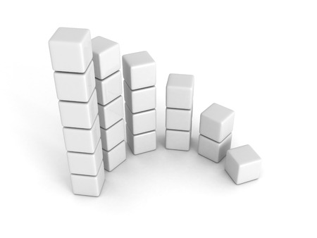 buildup: white  successful bar chart graph growing up. 3d render illustration Stock Photo