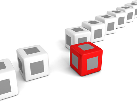 individuality red cube out from white crowd. 3d render illustration