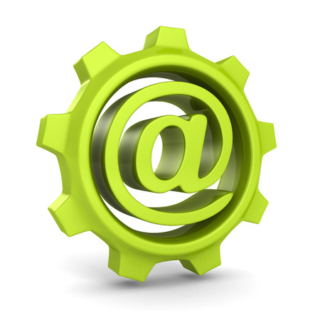 mailer: green cogwheel gear with e-mail at symbol. 3d render illustration
