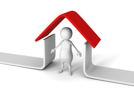 white 3D man under red roof house. real estate concept 3d render illustration