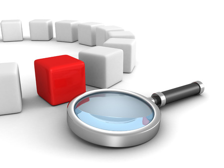 magnifier glass with red different leader cube. search concept 3d render illustration illustration