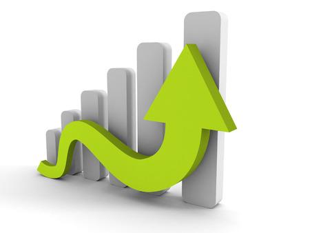 groeiend bedrijf grafiek met stijgende pijl. 3d render illustratie
