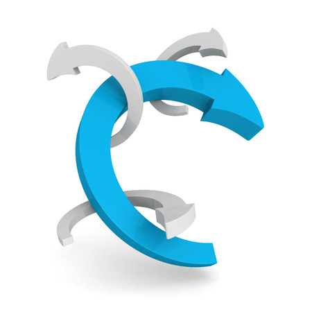 circling: blue leader round cycled arrow on white background. 3d render illustration