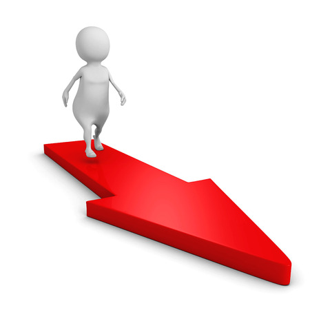 path to success: white 3d person on red arrow path to success. 3d render illustration