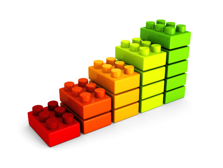 business success bar chart from building blocks. 3d render illustration