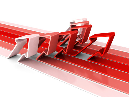 pise: red arrow success leader pise up and forward. 3d render illustration