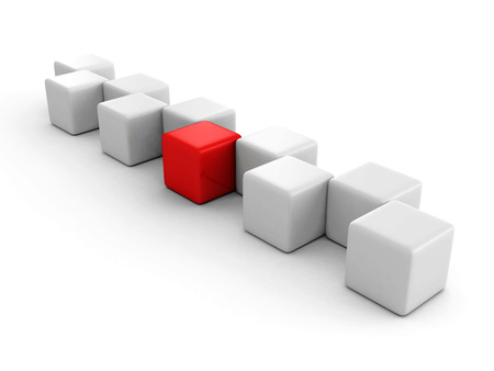 standout: different red block standing out of the crowd. individuality success concept 3d render illustration Stock Photo
