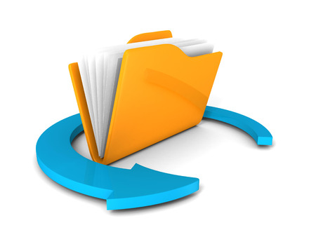 ftp: Yellow folder icon with blue round arrow on white. 3d render illustration