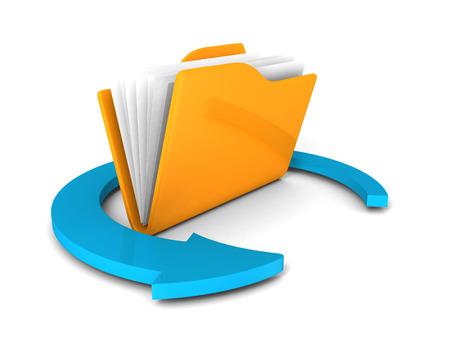 dir: Yellow folder icon with blue round arrow on white. 3d render illustration