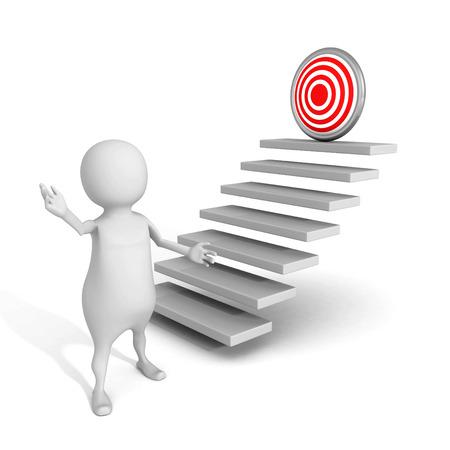 white 3d man presents successful goal target on top of steps. 3d render illustration illustration