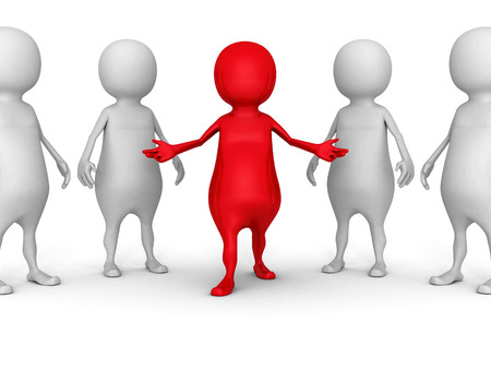 white 3d people group with red leader man. success leadership concept 3d render illustration