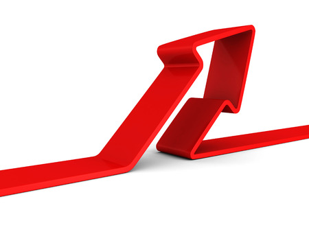 incremental: red arrow rising up on white background. 3d render illustration