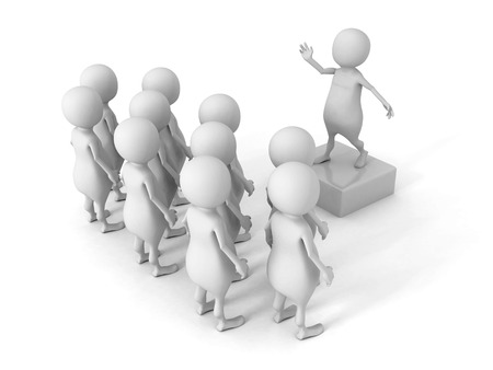 electorate: white 3d man talking to crowd. 3d render illustration Stock Photo
