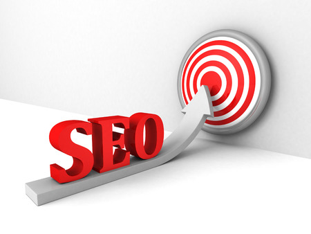 seo concept with growing arrow to success target. 3d render illustration