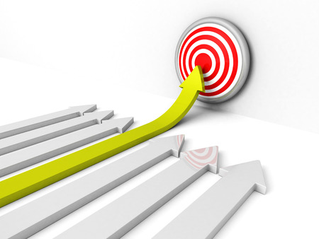 success green rising arow to center of target. Out from crowd. concept 3d render illustration
