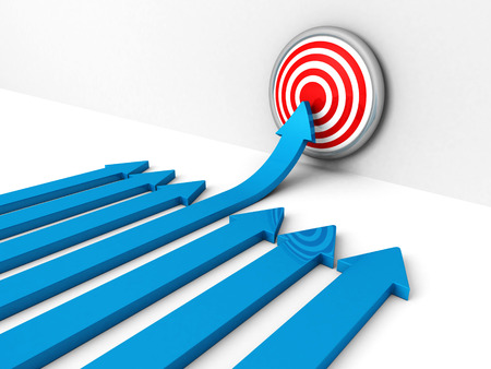 top seven: success blue rising arow to center of target. Out from crowd. concept 3d render illustration