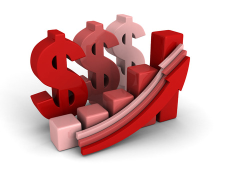 wealth abstract: dollar financial success bar chart graph growing up arrows. financial concept 3d render illustration