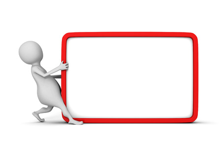 signboard form: white 3d man with blank information board. 3d render illustration Stock Photo