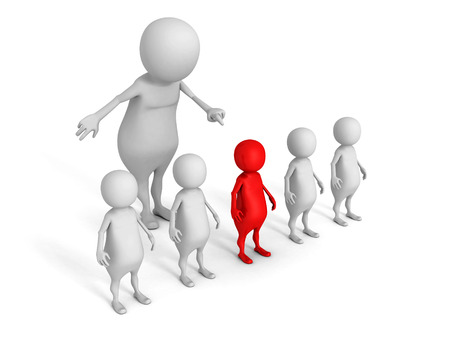 'one woman only': white 3d man choice red different person from crowd. 3d render illustration