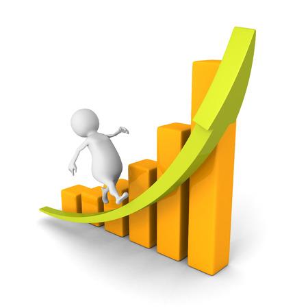 막대 차트 화살표를 성장 상승에서 실행 흰색 3d 남자. 비즈니스 성공의 개념은 그림을 3 차원 렌더링
