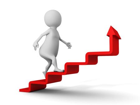 ladder success: 3d man walks upstairs on red growing arrow ladder. success concept 3d render illustration
