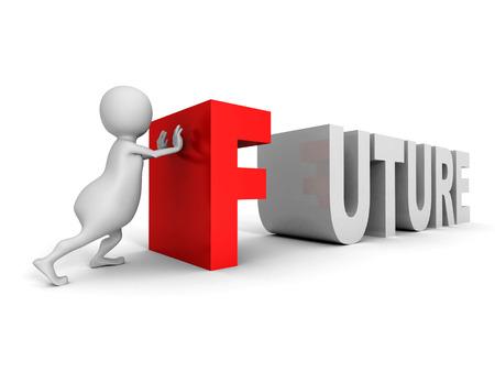 anticipate: white 3d man push big red FUTURE word. 3d render illustration Stock Photo