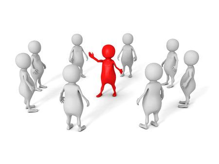 white 3d business team group with red leader boss. leadership concept 3d render illustration illustration
