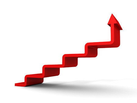 stairs arrow going upward grow on white background. success concept 3d render illustration