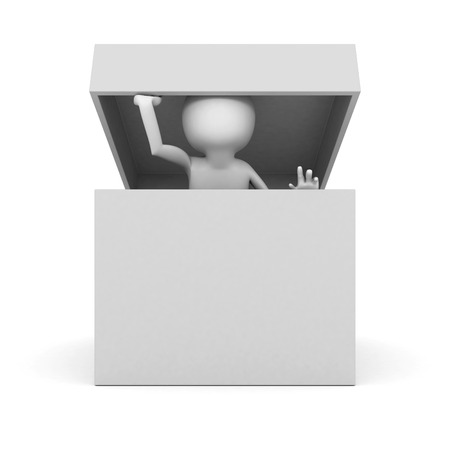 watch out: white 3d man watch out of empty opened cover box container