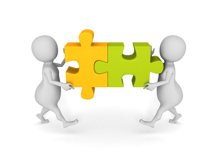 two piece: white 3d people team assemble two piece of a puzzle Stock Photo