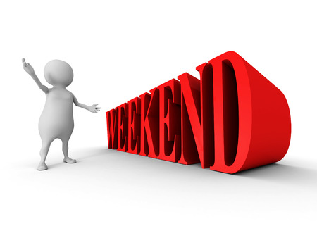 contented: white 3d man with red WEEKEND text word