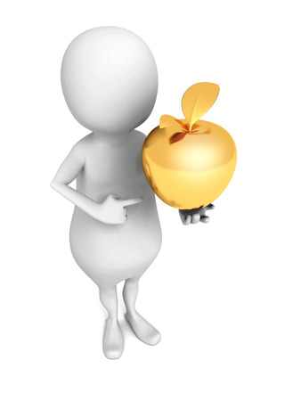 golden apple: White 3d Man With Golden Apple Stock Photo