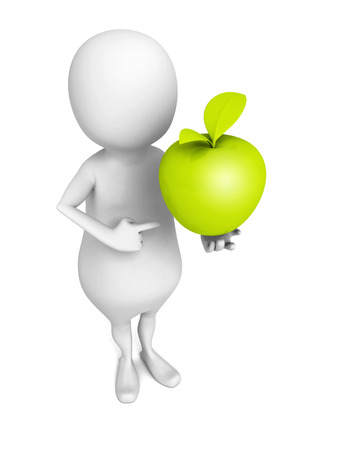 winesap apple: white 3d man with green fresh apple