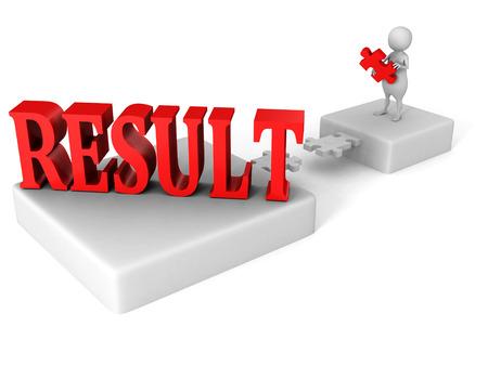 positivist: white 3d man jigsaw puzzle bridge to red RESULT word. success concept