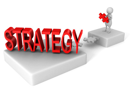 strategizing: white 3d man jigsaw puzzle bridge to red STRATEGY word. business success concept Stock Photo