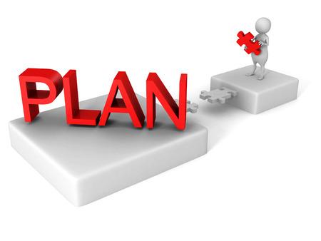 strategic focus: white 3d man jigsaw puzzle bridge to red PLAN word. 3d render illustration