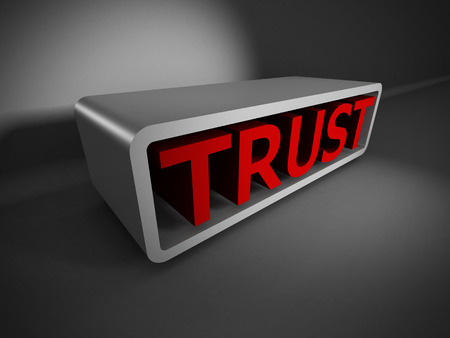 red TRUST 3d word on dark background. Business concept 3d render illustration